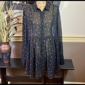 Lane Bryant Women's Black Blouse Gold Star Design